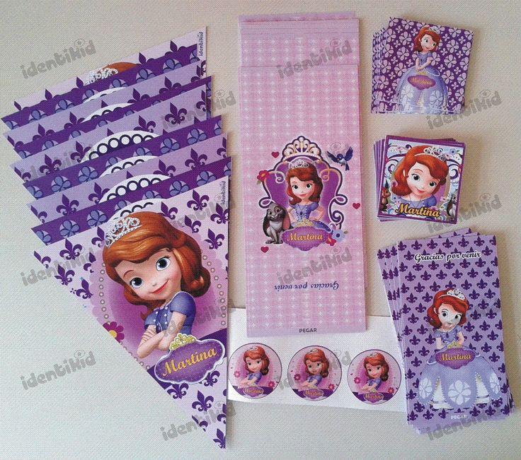 Identikid,  Stickers y emboltorios para golosinas- Princesita Sofia- todo…