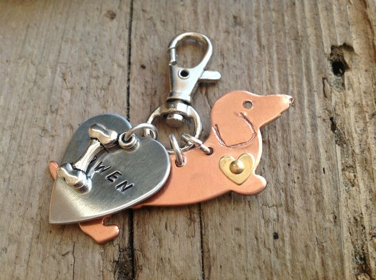 Doxie Love Dachshund Keychain by tagsoup on Etsy