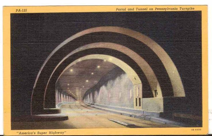 1947 Postmarked Postcard Portal and Tunnel on Pennsylvania Turnpike PA Super Hwy