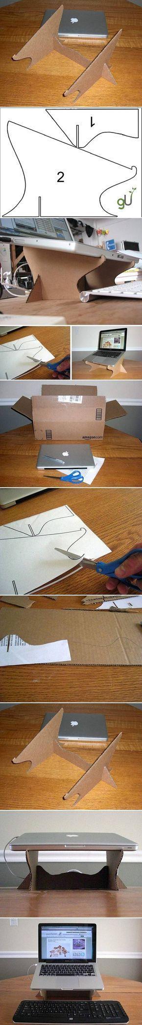 Suporte básico de notebook. De papelão. Pintando fica ainda mais bonito!