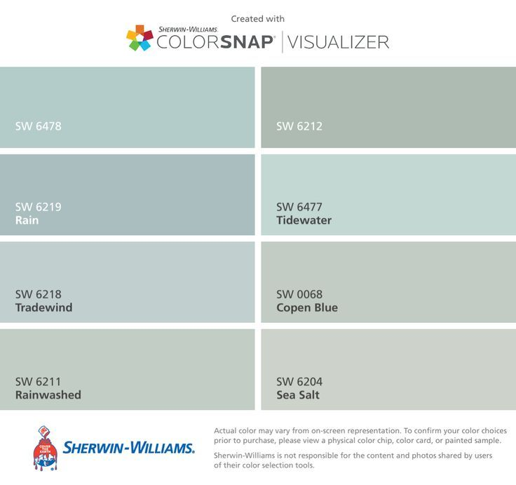 I found these colors for the porch floor with ColorSnap®️️ Visualizer for iPhone by Sherwin-Williams: Watery (SW 6478), Rain (SW 6219), Tradewind (SW 6218), Rainwashed (SW 6211), Quietude (SW 6212), Tidewater (SW 6477), Copen Blue (SW 0068), Sea Salt (SW 6204).