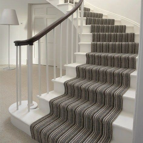 Grey Striped Stair Carpet on White Stairs #carpet #stairs