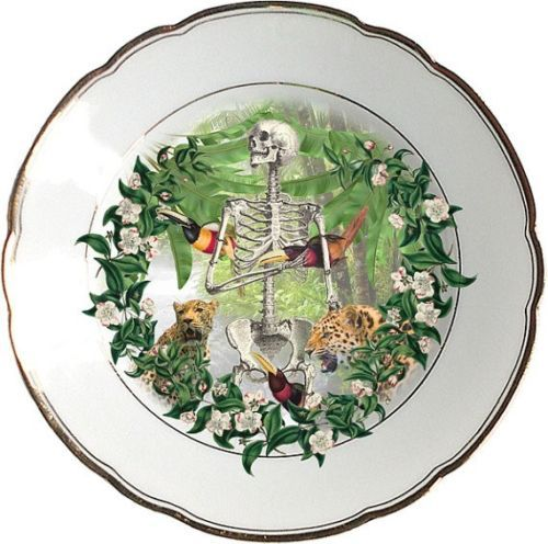 Bones Plate - Altered Antique Porcelain Plate - Collectors Item Art Mixed Media