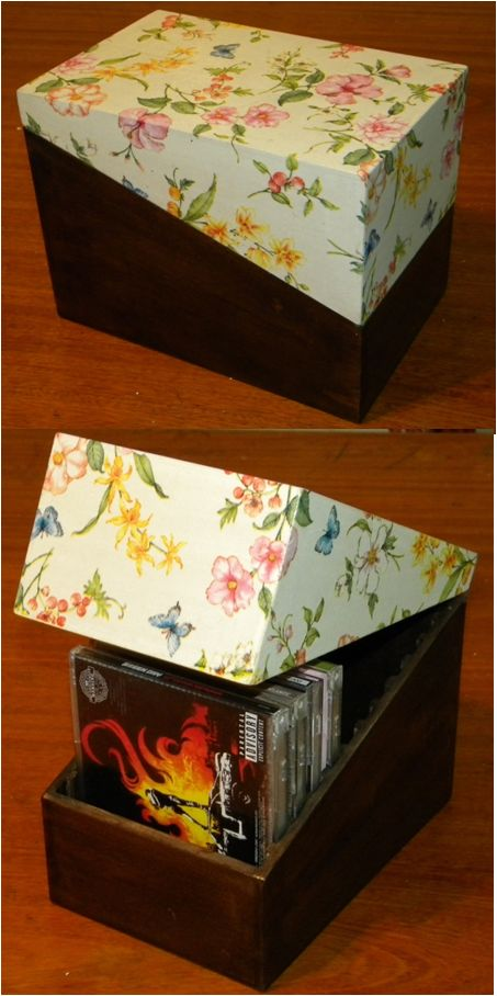 Decoupage in a box for CDs.