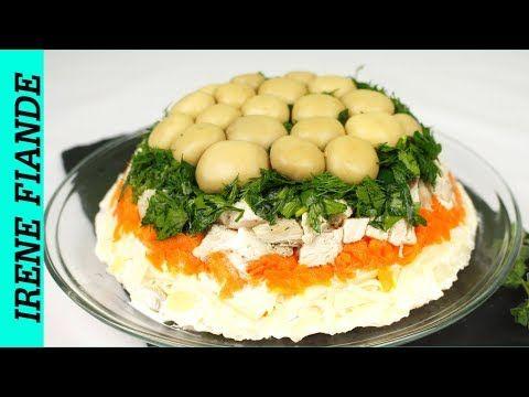 Вкусный салат Грибная поляна с курицей и шампиньонами ...