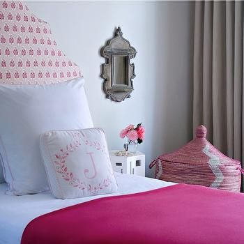 chic pink girls bedroom design with pink headboard hot pink throw white hotel bedding with pink stitching west african pink hamper basket