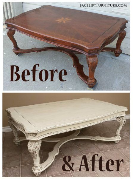 Before & After - Ornate Coffee table in Distressed Off White with Tobacco Glaze. From Facelift Furniture. #livingroomfurniture