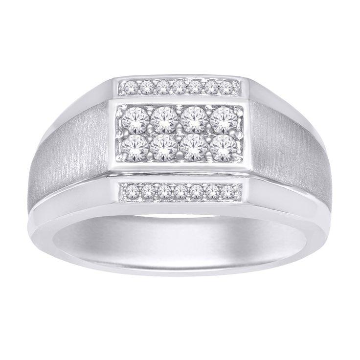 10K White Gold 2/5 Ct.Tw. Diamond Gents Ring