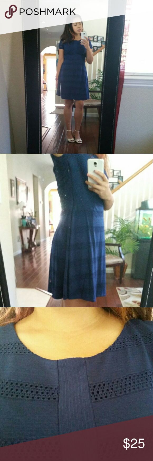 Lauren Conrad Navy Blue Striped Dress Size 6 NWOT This is a NWOT Lauren Conrad Navy Blue dress, size 6. True to size. The stripes alternate from solid blue to a crochet design. The zipper is located on the side. Super cute, especially for a wedding or going out! Dresses