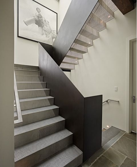 7 Ultra Modern Staircases: Perforated Steel Stairs. Rolled Iron Railing. Amazing