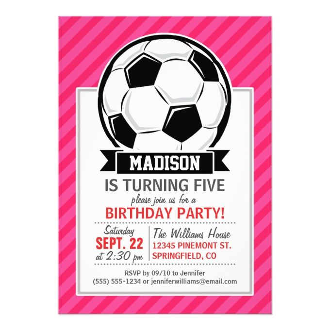 1222 best girl birthday invitations images on pinterest girl soccer ball on neon pink stripes 5x7 paper invitation card stopboris Image collections