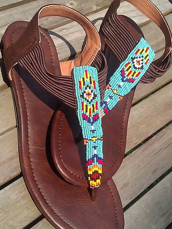 Native American Beaded Greek Style Sandals in by SplitFeather, $150.00