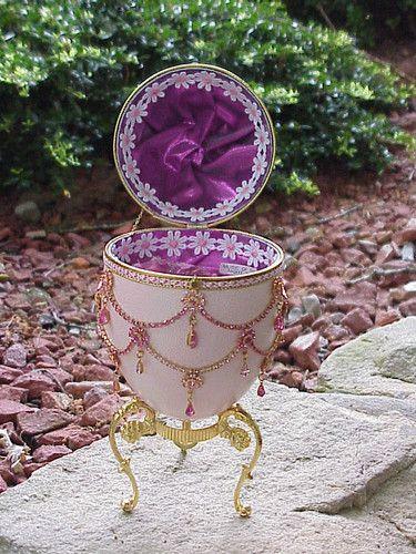 Real Painted EMU EGG Jewelry Trinket BOX Decorated Collectible Swarovski Gift | eBay