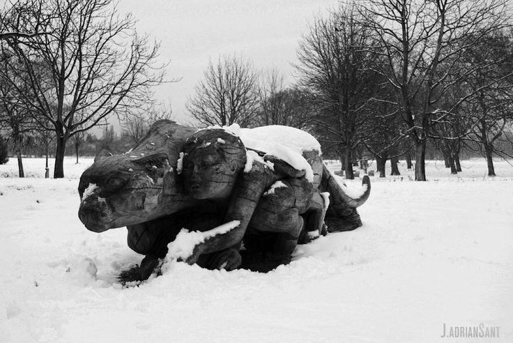 Instinto - Instinct - 本能 - 본능  Wooden Sculpture by Tom 'Carver' Harvey in Regent Park - London