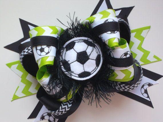 Soccer Boutique Bow Lime Green Chevron Soccer Hair Bow Soccer by ransomletterhandmade, $10.00