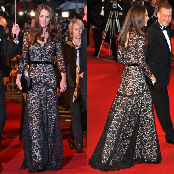 Prenses Kate Middletonbsiyah dantel gece elbisesi
