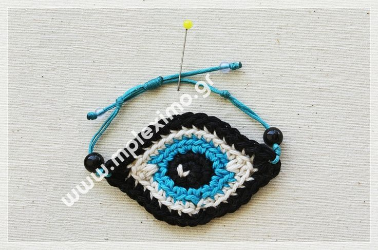 crochet eye bracelet