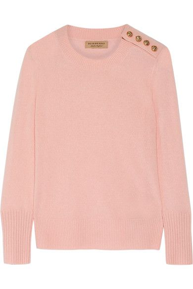 Burberry - Button-detailed Cashmere Sweater - Pastel pink - x large