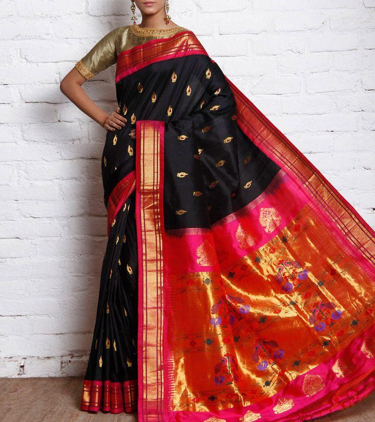 Black and hot pink Paithani