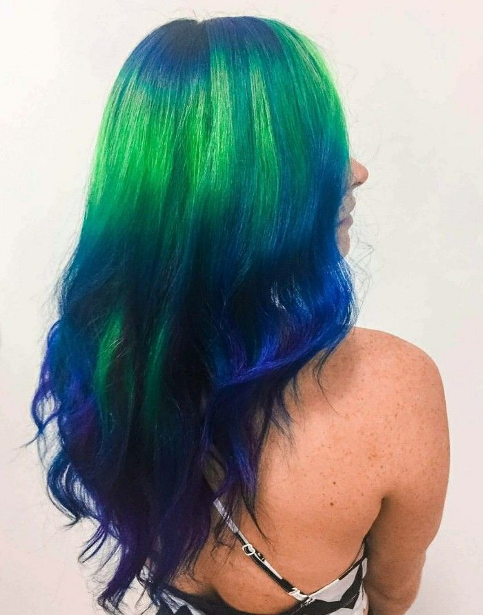 Blue Green Purple Neon Hair