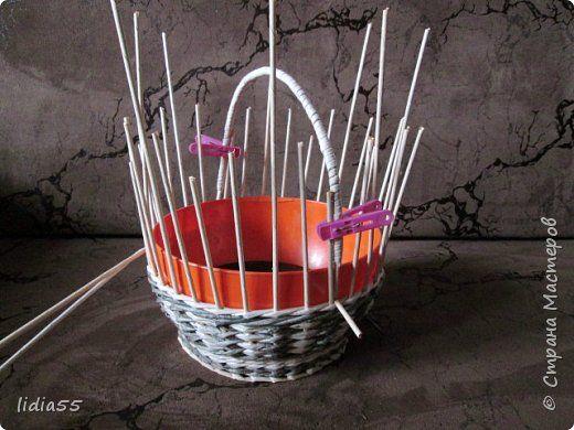 Мастер-класс Поделка изделие Плетение ручка для корзины Трубочки бумажные фото 4