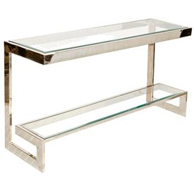Limited Production Design & Stock: Contemporary Clean Line Glass Steel Stepped Console Table * Polished Nickel * 28 x 55 x 16 * Partner Coffee Tables & Side Tables Available