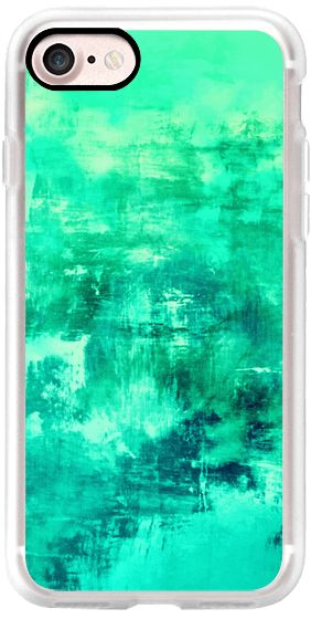 Casetify iPhone 7 Classic Grip Case - OFF THE GRID 6 Mint Green Seafoam Cool Coastal Summer Turquoise Aqua Abstract Watercolor Acrylic Fine Art Painting Nautical Beach Ocean Modern Design by Ebi Emporium #Casetify