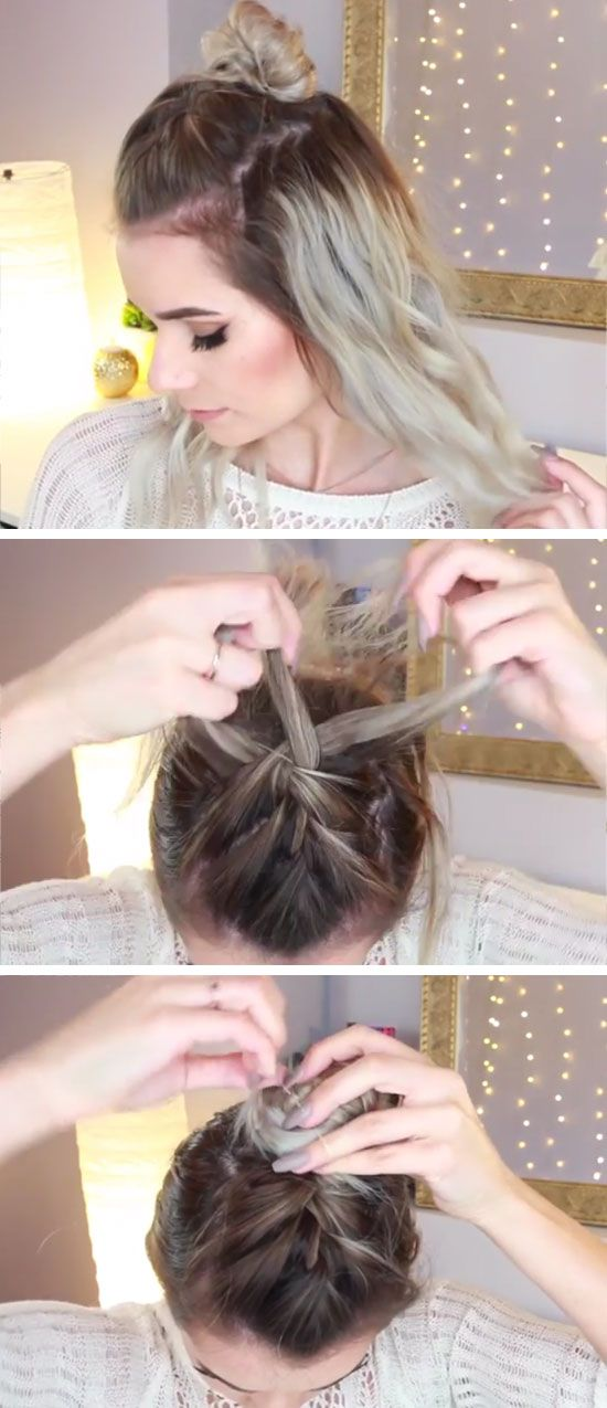 French Braided Top Knot | 16 DIY Summer Hairstyles for Long Hair | Easy Beach Hairstyles for Long Hair