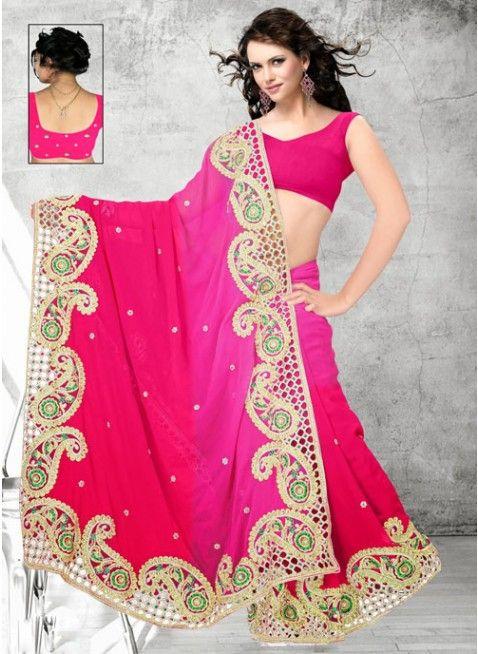 Stunning Fushia Pink Ombrey Chiffon #Saree With Patch Work