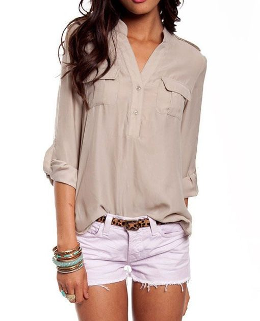 love the dressy shirt w the casual shorts