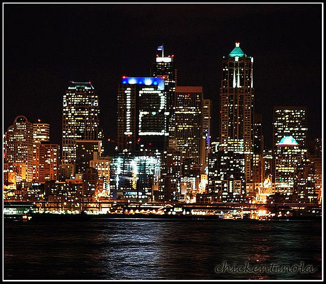 "Seattle Skyline | 12th Man | Seahawks | Russell Investments Tower | ""City wears its pride."" 