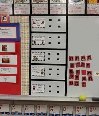 I like the idea of putting the daily 5 up on the board and then the kids moving their names around etc.