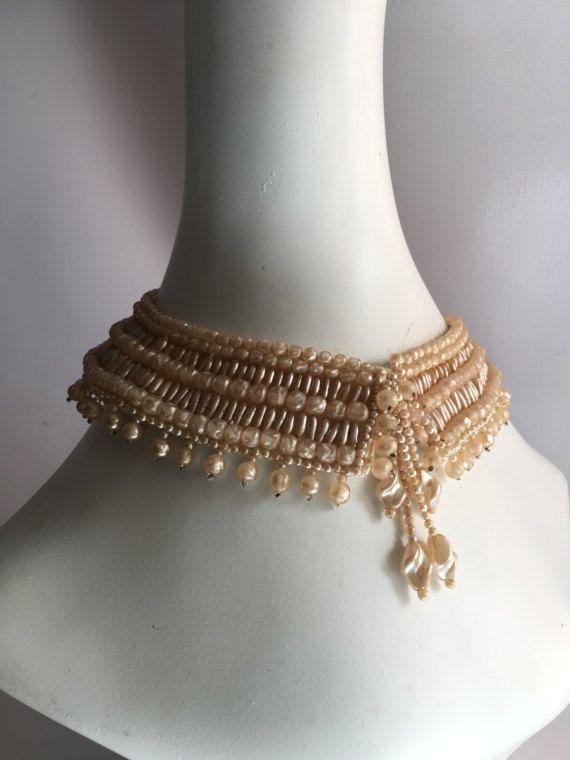 Collana Vintage 1950s perline collare finto avorio perlato
