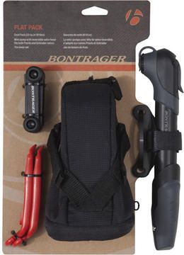 Bontrager Flat Pack is one stop shopping for flat tire repair. You get a Bontrager Air Support mini pump, two exceptional Bontrager tire levers, a patch kit and Bontrager's PRO 75 seat pack to store all your gear.