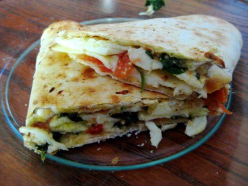 Spinach, feta and tomato breakfast wrap