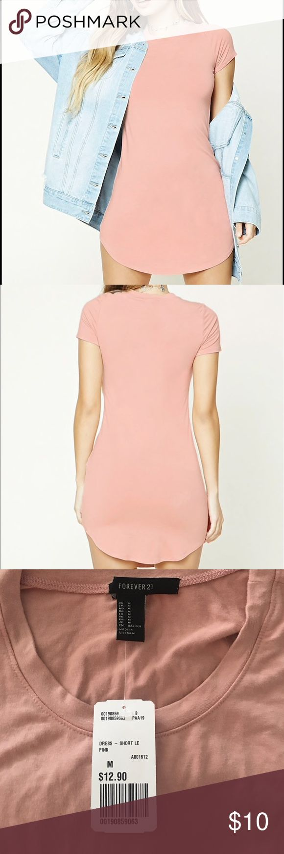 NWT Forever21 Dusty Pink Knit Mini Dress Forever21 Dusty Pink Knit Mini Dress - curved hemline - tried on and just not for me. Brand new with tags! Forever 21 Dresses Mini