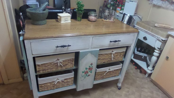 Better shot of the sideboard converted to a kitchen Island -Up-Cycled2CountryGothic