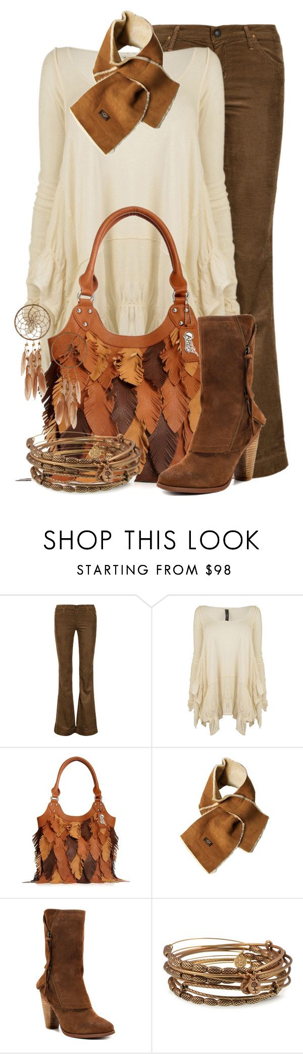 """Carlos Santana Handbag"" by jackie22 ❤ liked on Polyvore featuring Goldsign, HIGH, Carlos by Carlos Santana, UGG Australia, Kensie, Alex and Ani, Miss Selfridge, flare jeans, ankle boots and suede boots"