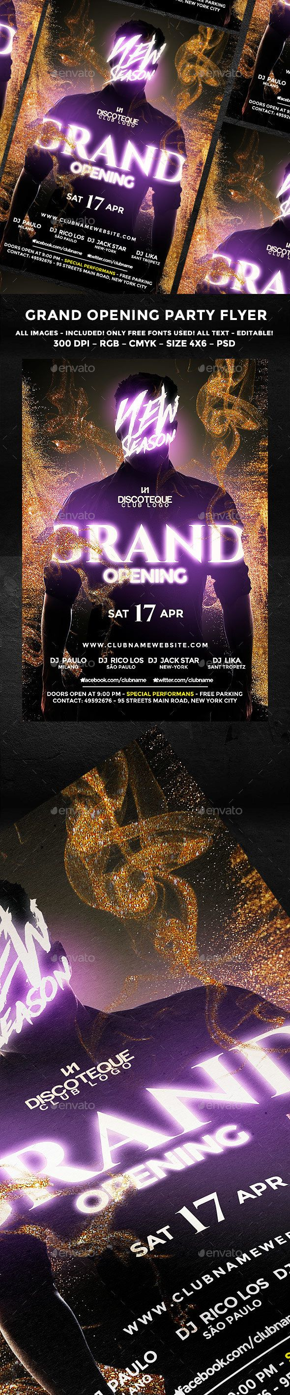 Opening Flyer — Photoshop PSD #opening #parties • Download ➝ https://graphicriver.net/item/opening-flyer/19591384?ref=pxcr