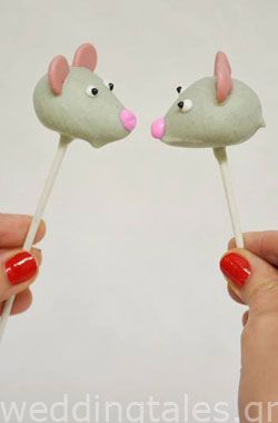 Two Little Mice sitting on a tree... K I S S I N G! How about that for original wedding cake pops? By @Tina Granger.gr
