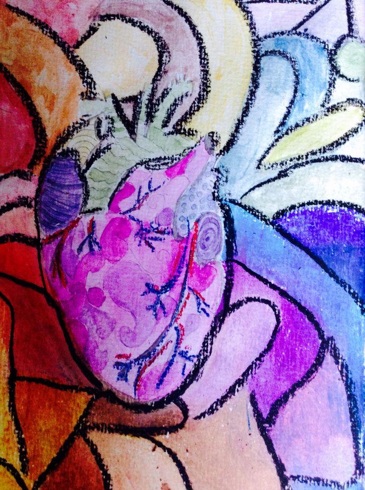 Heart,  oil pastel
