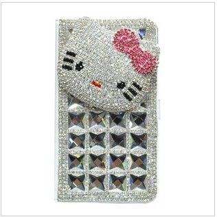 Bling Swarovski Crystal 3D Hello Kitty case for iPhone 5 Case - White sideway