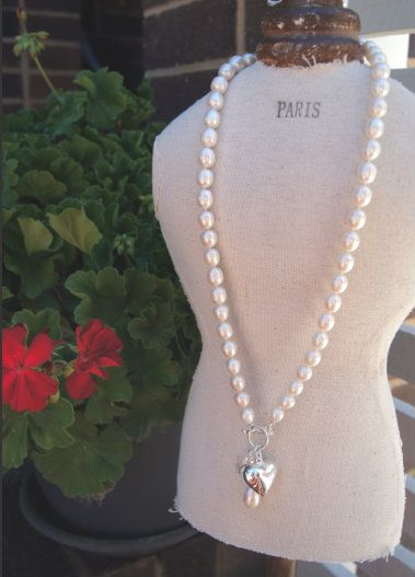"Sacs On Jenkins - 30"" Freshwater Pearl Necklace with Heart Charm, $159.00 (http://www.sacsonjenkins.com.au/30-freshwater-pearl-necklace-with-heart-charm/)"