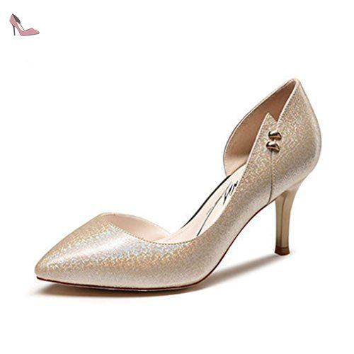 Escarpin brillant femme rasé cuir chaussure talon aiguille métal western stiletto simple élégant or clair 39 - Chaussures xtian (*Partner-Link)