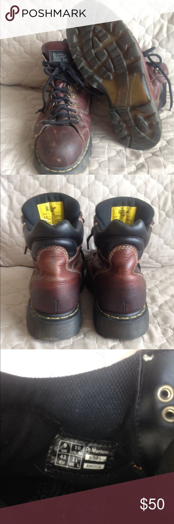 Dr Doc Martens AirWair Steel Toe Leather Brown distressed leather, steel toe.  Worn but still in great condition. Size 10M/11L. Dr. Martens Shoes Boots