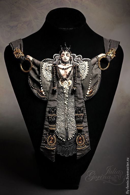 "By Julia Gorina.  ""Black Queen"" necklace from the ""Chess Legends"" sereis."
