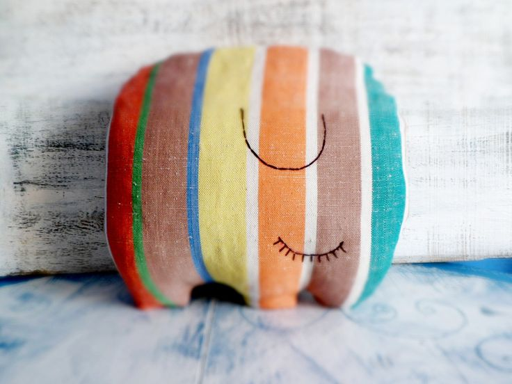 Stuffed elephant pillow nursery decor 10x12 inches linen rustic primitive animal stuffed toy baby shower gift by HandyHappyTeddy on Etsy