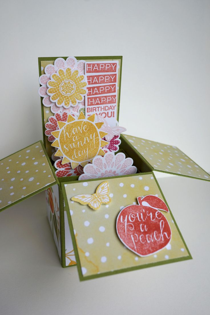 Peach Birthday Card by AnnaChildsDesign on Etsy
