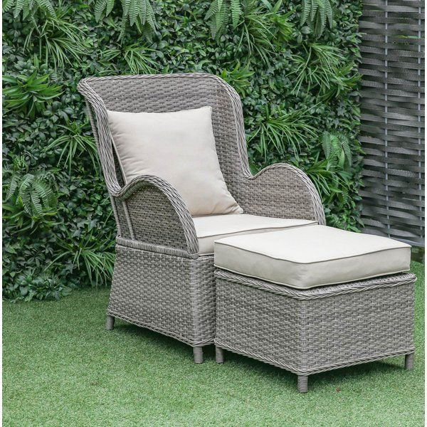 Silke Patio Chair With Cushion With Ottoman In 2020 Patio Chairs
