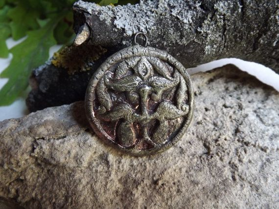 Ceramic  Pendant Ancient Hungarian Motif  raku by BlueBirdyDesign, €7.00